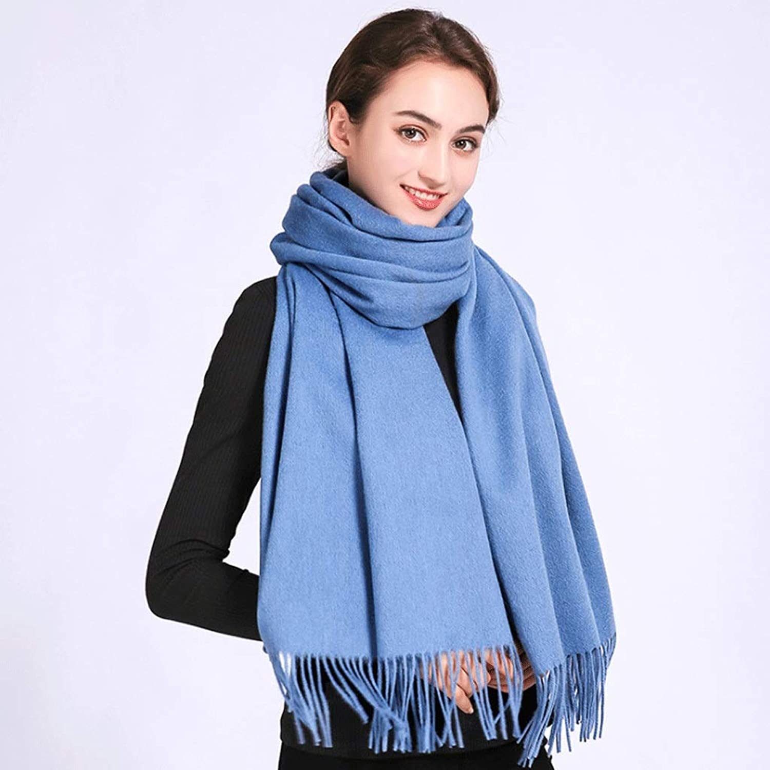 CCF Scarf Thick Scarves Simple color Spring, Autumn and Winter Can Be Used 200x70CM Both Men and Women are Available V (color   bluee)