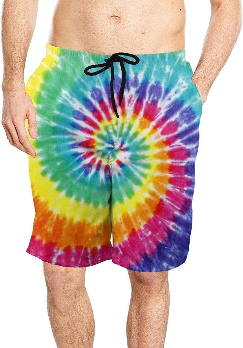 DASMUS Tye Dye Pattern Art Mens Drawstring Beach Board Shorts Swim Trunks with Mesh Lining