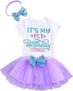 Newborn Baby Girl's It's My 1st Birthday Infant Outfits Romper Shiny Printed Sequin Bowknot Tutu Skirt Dress Purple