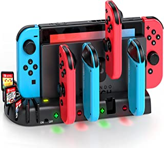 Joycon Controller Charger Dock Station Compatible with Nintendo Switch, KDD Joycon Charging Dock Station with 8 Game Slots...