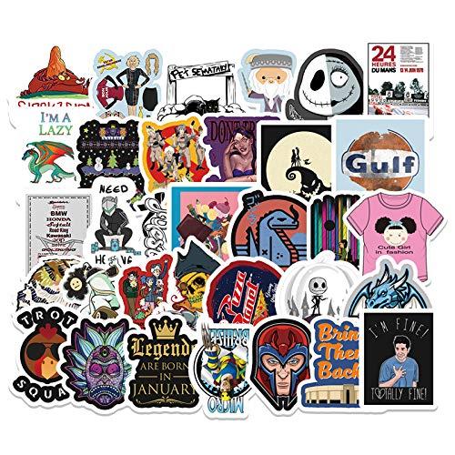 JZLMF 50 Pegatinas de Graffiti de Dibujos Animados, Pegatinas para decoración de Maletero de Coche, Scooter, teléfono móvil, Ordenador