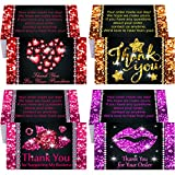 100 Pieces Diamond Thank You Cards Bling Heart Lips Rose Star Thanks Business Card Customer Appreciation Package Inserts for Small Business Company Store Shop