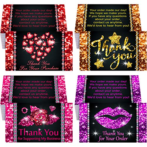 100 Pieces Diamond Thank You Business Cards Small Business Cards Bling Heart Lips Rose Star Thanks Business Card Customer Appreciation Package Inserts for Business Company Store Shop (Delicate Style)