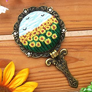 Home,Garden,Home Diy,Diy Full Range Of Embroidery Cross Stitch Stamped Make Up Lens Floral Kit Embroidery Makeup Mirror Diy Material Package