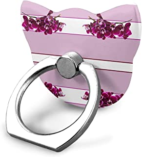紫色のピンクの蘭の茶タオルの指輪のホールダー、iPhoneの人間の特徴をもつ電話のための普遍的な携帯電話リンググリップの立場サポート