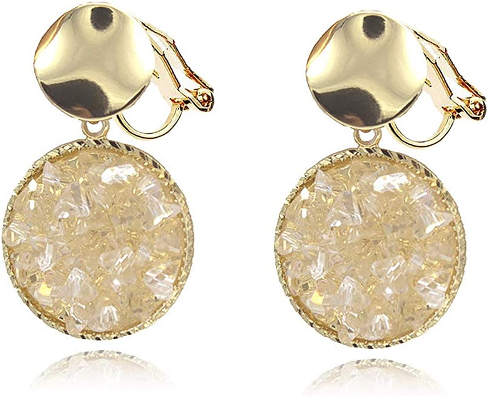 Double Round Clip on Dangling Earrings non Pierced Clear Crystal Gold Tone for Women Girl Fashion Jewelry