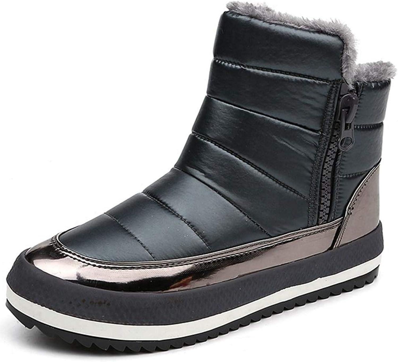 GIY Women's Winter Ankle Snow Boots Waterproof Warm Fur Side Zip High Top Slip On Platform Outdoor Snow Boots
