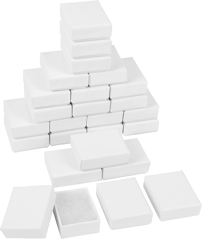Belle Vous Cajas de Carton Kraft Blancas para Joyas (Pack de 25) 2,8 x 2,2 x 1 cm - Cajas Carton Regalo con Inserto de Algodón para Collares, Pendientes, Brazaletes y Anillos