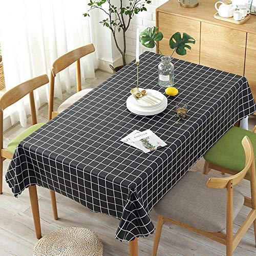 Dthlay Tafelkleden van pvc, voor tuintafels, waterdicht, tafelkleed, salontafel, gemakkelijk te reinigen, zwart