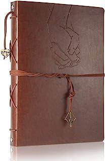 ThxMadam Scrapbook Cuero Álbum de Fotos Libro de Visitas de Boda con 60 Páginas Negras Presentes para Regalo de Valentín D...