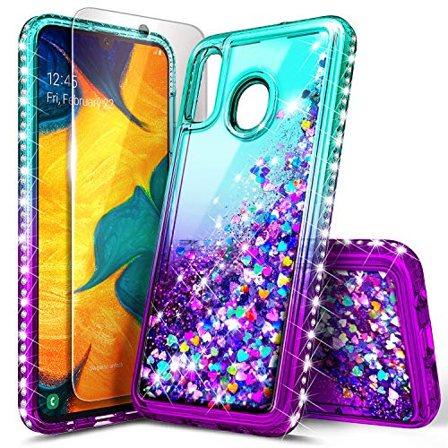 Galaxy A20 Case, Galaxy A30 Case with Tempered Glass Screen Protector, NageBee Glitter Liquid Floating Waterfall Durable Girls Women Cute Case for Samsung Galaxy A30/A20 (6.4 Inch) -Aqua/Purple