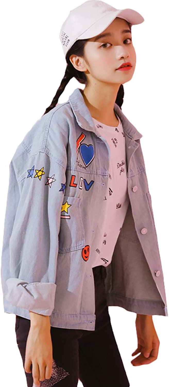 TSINYG Women's Printing Sweet Cute Loose Short Denim Jacket ( color   bluee , Size   M )