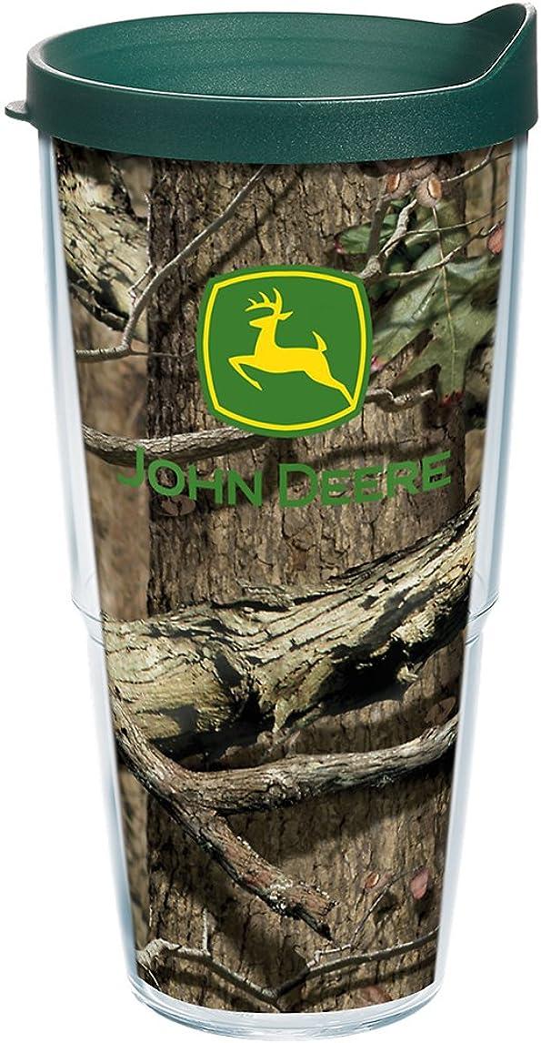 鎖放射するヒステリックTervis John Deere Mossy Oak Tumbler with Travel Lid, 24 oz, Clear by Tervis