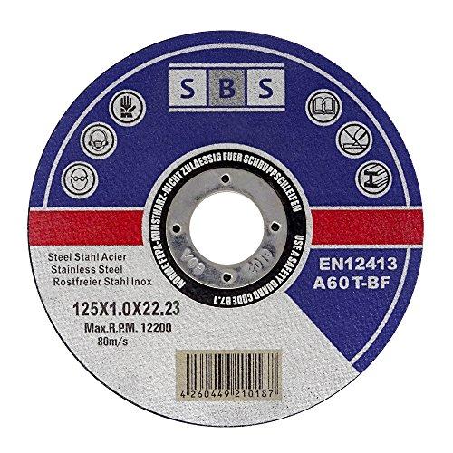 10 dischi di taglio flessibili SBS Inox, 125 x 1,0 mm