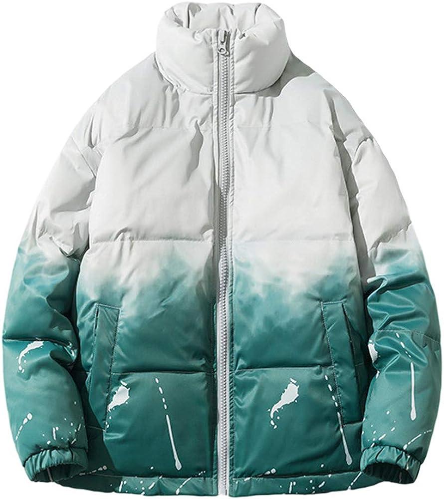 Gihuo Men's Winter Gradient Cotton Padded Stand Collar Zip Puffer Jacket