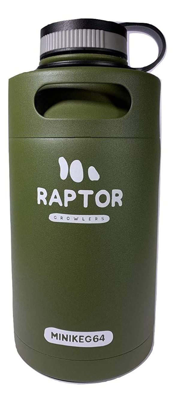 Raptor Growlers MiniKeg 64 Vacuum Insulated Stainless Steel Growler with Double Wall (Army Green)