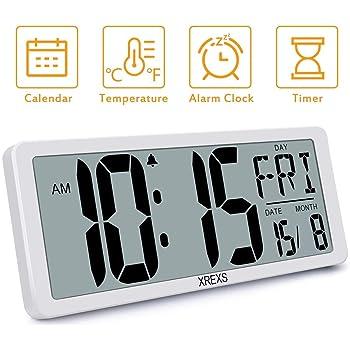 Reloj de Pared Digital Grande-MQUPIN Reloj de Pared LCD de Escritorio de 14 con Ajuste automático de Hora Alarmas duales Volumen Ajustable de Temperatura para la Oficina del Dormitorio (Blanco): Amazon.es: