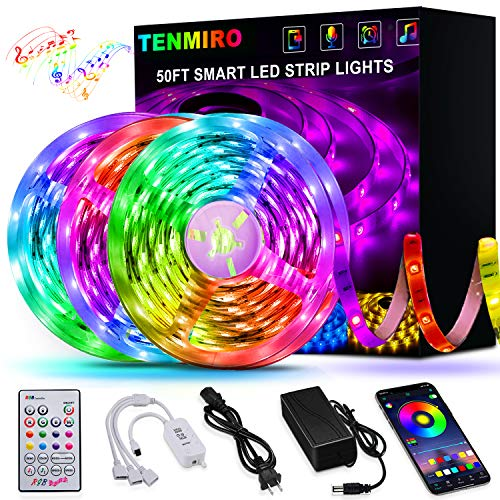 50FT/15M LED Strip Lights Tenmiro Smart Led Lights Strip SMD5050 Music Sync Color Changing RGB Lights APP Bluetooth Control  Remote LED Lights for Bedroom Party Home Decoration