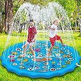 Paochocky Tappetino Gioco d'Acqua per Bambini, 170cm Aumento Antiscivolo Splash Pad, Spruzza la piscina con giochi d'acqua, Giocattolo per tappetino spray da giardino per giochi all'aperto per Bambini