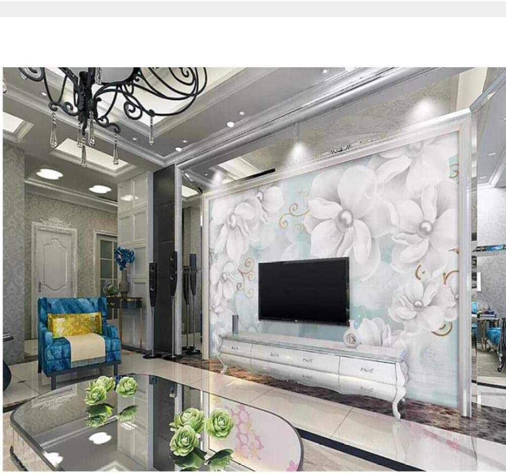 Zjxxm Modern 3D Wallpaper Fashion Flower Bac Ranking TOP10 Ranking TOP2 Jewelry Embossed Tv