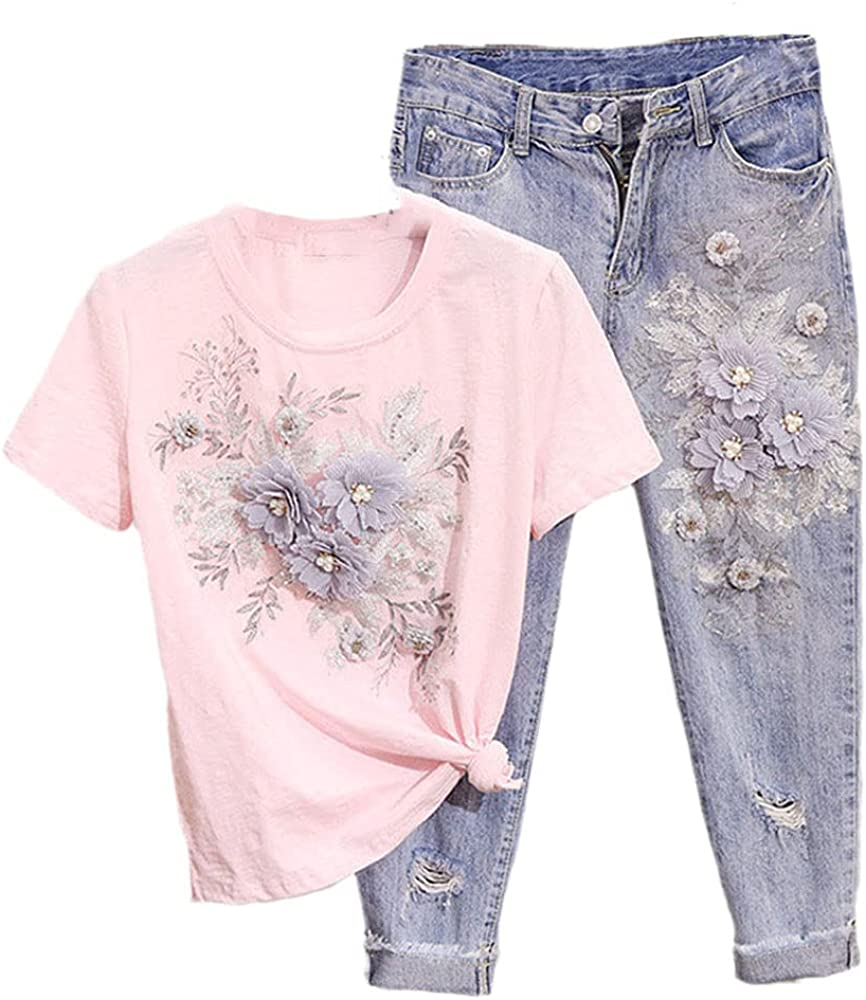 Women 3D Flowers Embroidery Beaded T Shirt Pant Set Casual T Shirt Pant Suit