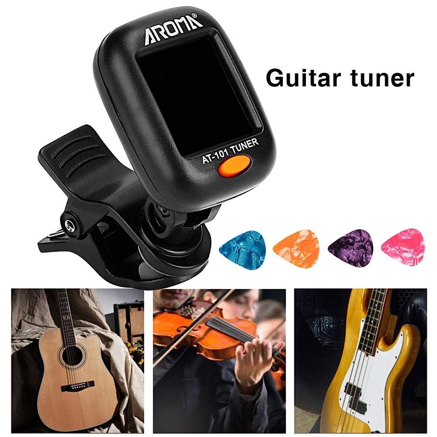 Lamptti Guitar Tuner Halftone Tuner Unit - LCD Display with 4PCS Guitar Picks