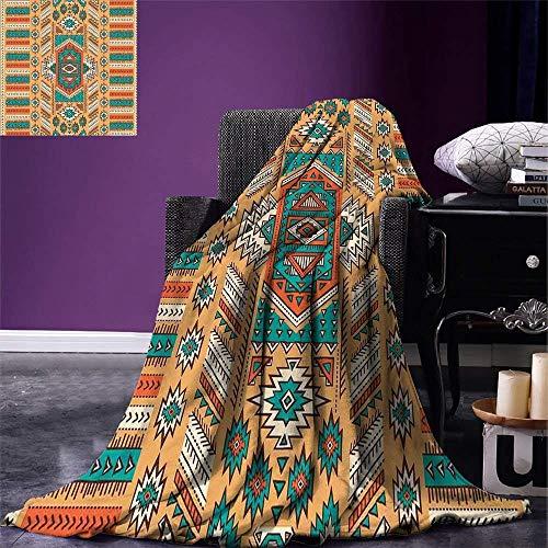 ZheQR Tribal Throw Blanket Ethnische aztekische geheime Tribe Muster in indianischen böhmischen Stil warme Mikrofaser-, 150cm * 200cm