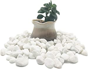 30 LB Snow White Tumbled Pebble Rocks,Decorative Polished River Stones,3/8 Inches for Succulents,Plants,Soil Cover,Tabletop Fountain,Concrete Creation,Candles,Fairy Garden,Outdoor Landscaping
