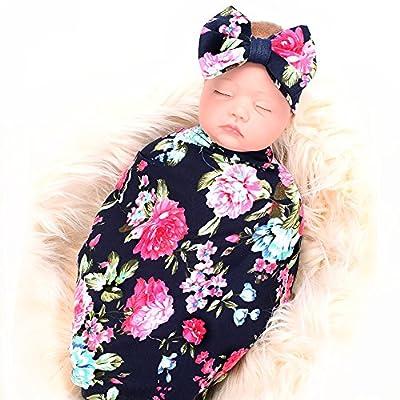 Newborn Receiving Blanket Headband Set Flower Print Baby Swaddle Receiving Blankets Galabloomer Navy Blue Rose from Galabloomer