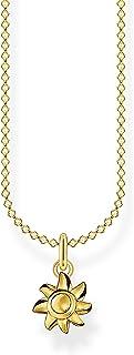 Thomas Sabo Collar para mujer con diseño de sol dorado en plata de ley 925, 38-45 cm de longitud