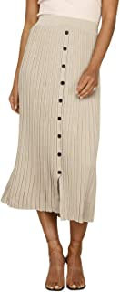 Simplee Women's Ribbed Knit Split Front Button Stretch Plain Causal Midi Skirts