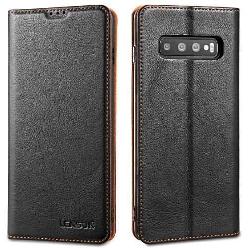 LENSUN Echtleder Hülle für Samsung Galaxy S10 Plus, Leder Handyhülle Magnetverschluss Kartenfach Handytasche kompatibel mit Samsung Galaxy S10+(6,4 Zoll) – Schwarz(S10P-DC-BK)