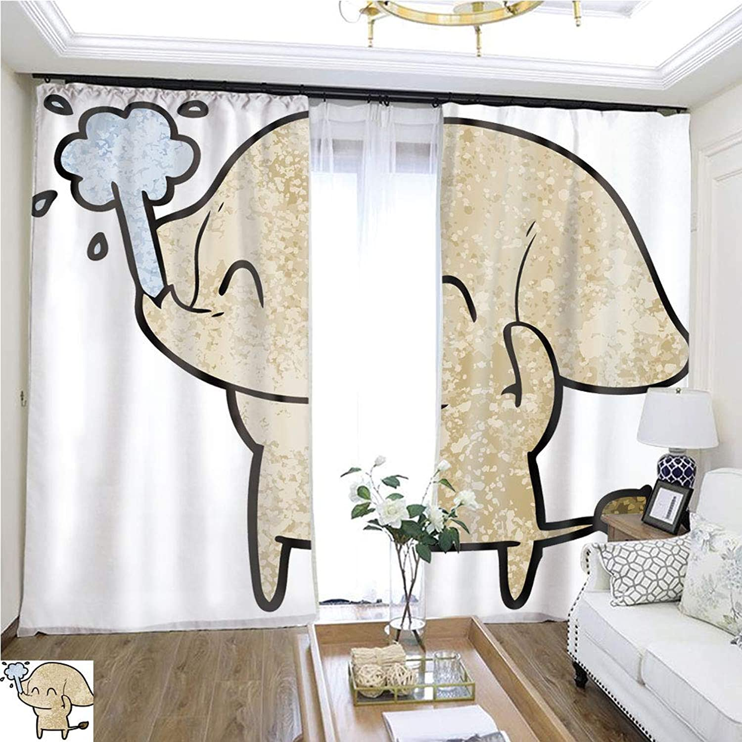 Air Port Screen Cute Cartoon Elephant spouting water12 W108 x L79 Eliminate The Turf Highprecision Curtains for bedrooms Living Rooms Kitchens etc.