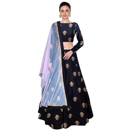 5ae388685 Shree Impex Women s Embroidered Taffeta Silk Semi-Stitched Lehanga Choli  (All over 1