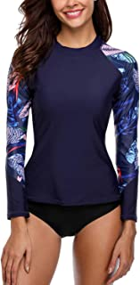 Women's Long Sleeve Rash Guard UPF 50+ Swim Shirt Printed Rashguard Top
