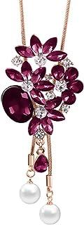 Mecool Collar largo con colgante de flor, collar de cadena larga con cristales creados, color morado
