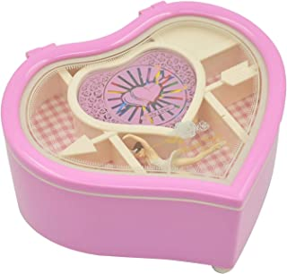 صندوق موسيقى على شكل قلب مع راقصة باليه في الداخل مزين بالمجوهرات يمثل هدية مثالية للفتيات في الاعياد واعياد الميلاد لون وردي