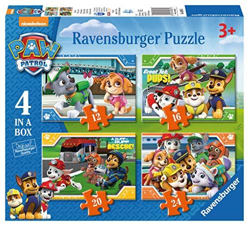 Comprar juego de mesa: Ravensburger 4 Puzles Patrulla Canina en una Caja (12, 16, 20, 24 Piezas)