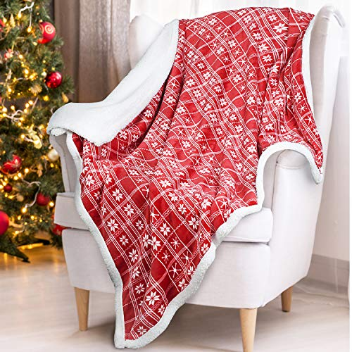 Red Sherpa Throw Blanket, Super Soft Warm Cozy Reversible Fuzzy Fleece Snowflake Patterns Holiday Blanket 50' x 60' for Couch Sofa Bed, Home Decor, Lightweight