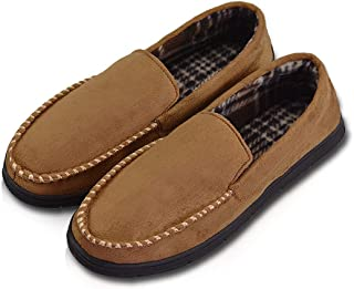 Mens House Slippers Moccasin Slipper House Shoe with Indoor Outdoor Memory Foam