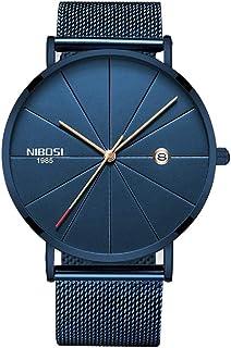 NIBOSI Mens Watch Deep Blue/Black Ultra Thin Wrist Watches for Men Fashion Waterproof Dress Watch