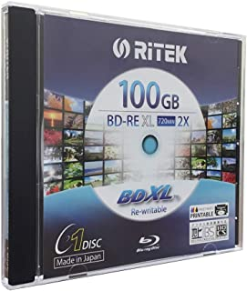 Ritek BD-RE XL Rewritable BDXL 100GB Triple Layers 2X White Inkjet Hub Printable Blank Disc