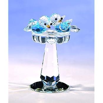 Crystal World Baby Bird Bath Figurine New In Box