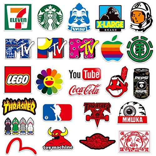 Coole Band-Aufkleber, 100 Stück, Skateboard-Aufkleber für Jugendliche, zufällige Stickerbombe, Marken-Aufkleber für Skateboard, Fahrrad, Laptop, Wasserflaschen (100 Stück)