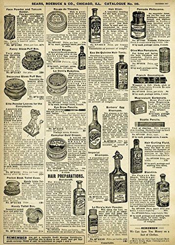 World of Art Global Vintage Friseurladen Haar-UND Beauty-ZUBEHÖR PREISLISTE VON Sears & ROEBUCK von Amerika im Jahr 1907. 250 g/m², glänzend, Kunstdruck, A3, Reproduktion