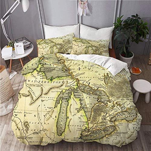 Bettbezug, farbige Weltkarte - Grenzen, L?nder und St?dte - Abbildung Bild enth?lt die n?chsten Schichten, mit 1 Bettbezug und 1 Kissenbezug, Hauptschlafzimmer-Bettw?sche-Set