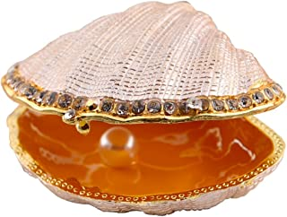 Hophen Clam Sea Shell Bejeweled Pearl Mussel Trinket Enamel Pewter Box 3