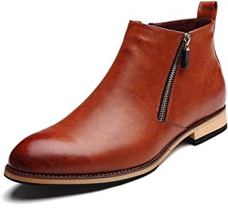 [アッション] ビジネスシューズ メンズ靴 通気快適 高級靴 サイドジップ 抗菌 防水 り止め 就活 通勤 普段用 紳士靴 チ シーブーツ オールシーズン 黒/ブラウン 軽量 履きやすい 24~27cm ウイングチップ