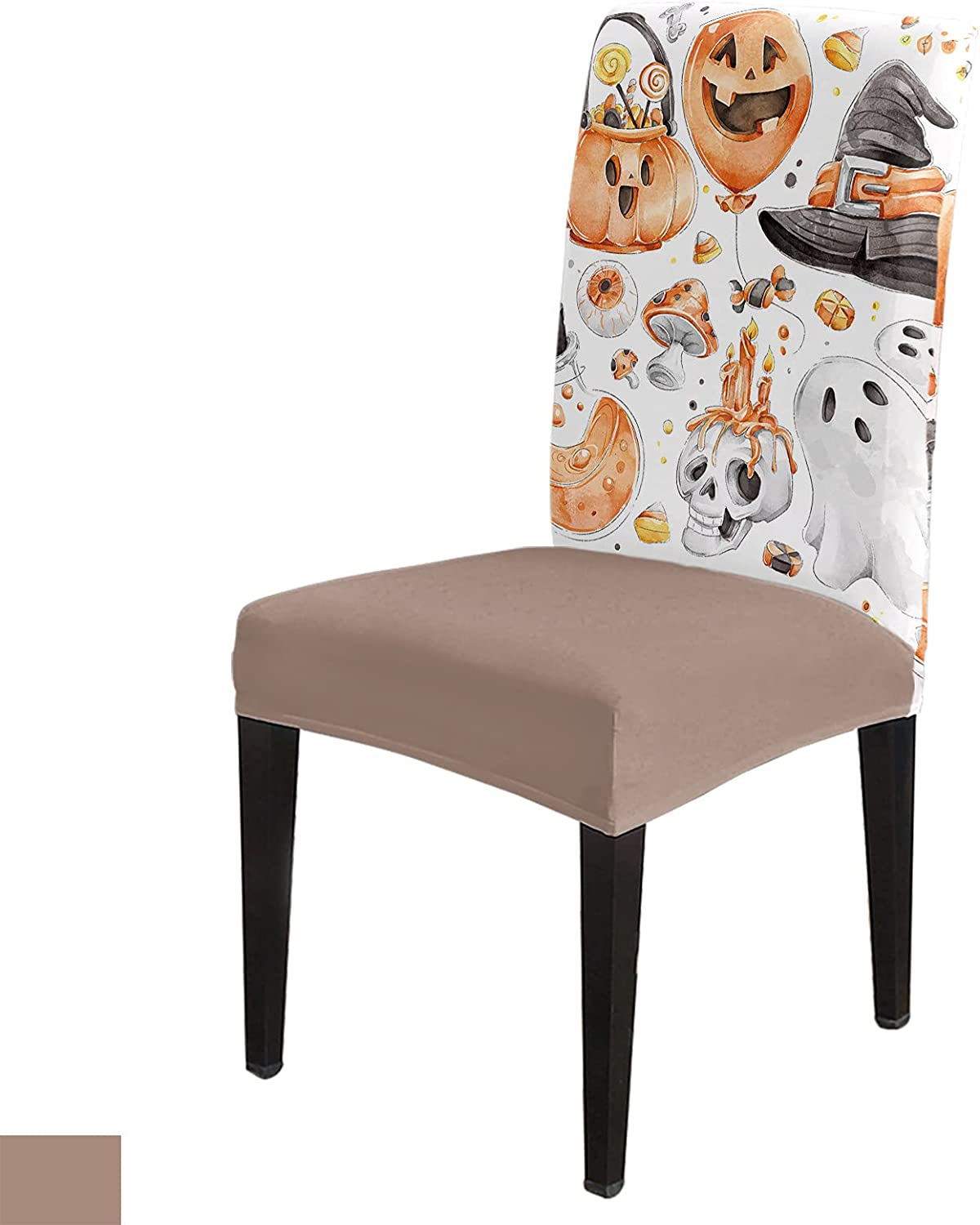 Watercolor Pumpkin Skull Ghost Super special price Witch Chair Dining Room Max 53% OFF Cover Hat