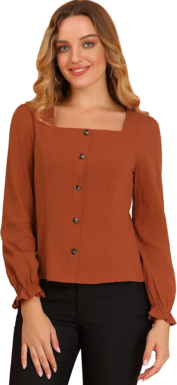 Allegra K Women's Square Neck Elegant Blouse Button Decor Long Sleeves Ruffle Cuff Tops